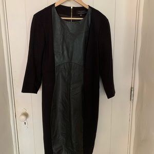 Ted baker black dress with leather